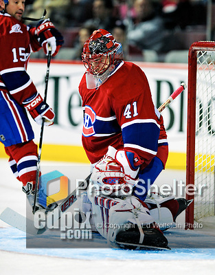 22 March 2010: Montreal Canadiens' goaltender Jaroslav Halak warms up prior to a game against the Ottawa Senators at the Bell Centre in Montreal, Quebec, Canada. The Senators shut out the Canadiens 2-0 in their last meeting of the regular season. Mandatory Credit: Ed Wolfstein Photo