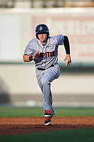 Jupiter Hammerheads first baseman Dustin Geiger (24) running the bases during a game against the Lakeland Flying Tigers on April 17, 2017 at Joker Marchant Stadium in Lakeland, Florida.  Lakeland defeated Jupiter 5-1.  (Mike Janes/Four Seam Images)