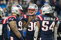 FOXBORO, MA - OCTOBER 10: New England Patriots Linebacker Shilique Calhoun (90), New England Patriots Defensive lineman Lawrence Guy (93), New England Patriots Linebacker Dont'a Hightower (54) during a game between New York Giants and New England Patriots at Gillettes on October 10, 2019 in Foxboro, Massachusetts.