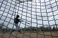 18 April 2006: General view of a batting cage during the third of seven 2006 MLB European Academy Try-out Sessions throughout Europe, at Stade Pershing, INSEP, near Paris, France. Try-out sessions are run by members of the Major League Baseball Scouting Bureau with assistance from MLBI staff.