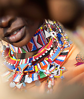 Traditional beaded necklace of Maasai tribeswoman, Tipilit Village near Amboseli National Park, Kenya