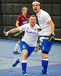 ROTTERDAM  - NK Nacompetitie Zaalhockey heren. HCKZ-Venlo (3-5) Venlo  promoveert.  Job Baeten met Lennart Smits.   na de 3-4 en 3-5 te hebben gescoord .  COPYRIGHT KOEN SUYK