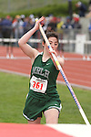 Photograph from the WIAA State Championships at Eastern Washington University in Cheney, Washington, during the 2010 Mt. Rainier Lutheran High School track and field season (pole vault photo sequence, 1 of 14).