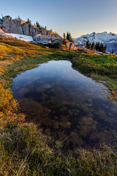 View of Mount Daniel and subalpine pond on Wenatchee Mountains, central Washington Cascade Mountains
