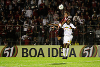 CURITIBA, PR, 15 DE MARÇO 2012 – ATLÉTICO-PR X SAMPAIO CORRÊA-MA - Bruno Furlán (e), do Atlético, e Arlindo Maracanã, do Sampaio Corrêa, durante o segundo jogo da primeira fase da Copa do Brasil. A partida aconteceu na noite de quinta-feira (15), na Vila Capanema, em Curitiba. <br /> (FOTO: ROBERTO DZIURA JR./ BRAZIL PHOTO PRESS)