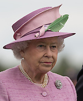 Her Majesty the Queen during the Cartier Queens Cup Final match between King Power Foxes and Dubai Polo Team at the Guards Polo Club, Smith's Lawn, Windsor, England on 14 June 2015. Photo by Andy Rowland.