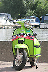 A 1960s Innocenti Lambretta model DL (aka 'GP' in Great Britain) on show during a rally in England.