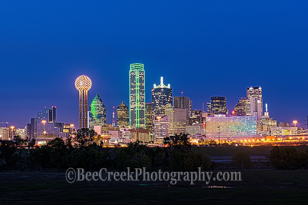 Dallas cityscape after dark with the city light in the downtown area. This cityscape has all the usual iconic dallas buildings like the Reuion Tower, Heritage Plaza, Fountain Place, Bank of America, to the alway colorful Omni Hotel in view.