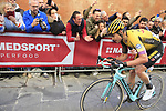 Wout Van Aert (BEL) Team Jumbo-Visma climbs Via Santa Caterina in Siena in the last km of Strade Bianche 2019 running 184km from Siena to Siena, held over the white gravel roads of Tuscany, Italy. 9th March 2019.<br /> Picture: Eoin Clarke | Cyclefile<br /> <br /> <br /> All photos usage must carry mandatory copyright credit (&copy; Cyclefile | Eoin Clarke)
