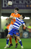 Blackpool's Ben Heneghan vies for possession with Reading's Lucas Boye<br /> <br /> Photographer Kevin Barnes/CameraSport<br /> <br /> Emirates FA Cup Third Round Replay - Blackpool v Reading - Tuesday 14th January 2020 - Bloomfield Road - Blackpool<br />  <br /> World Copyright © 2020 CameraSport. All rights reserved. 43 Linden Ave. Countesthorpe. Leicester. England. LE8 5PG - Tel: +44 (0) 116 277 4147 - admin@camerasport.com - www.camerasport.com