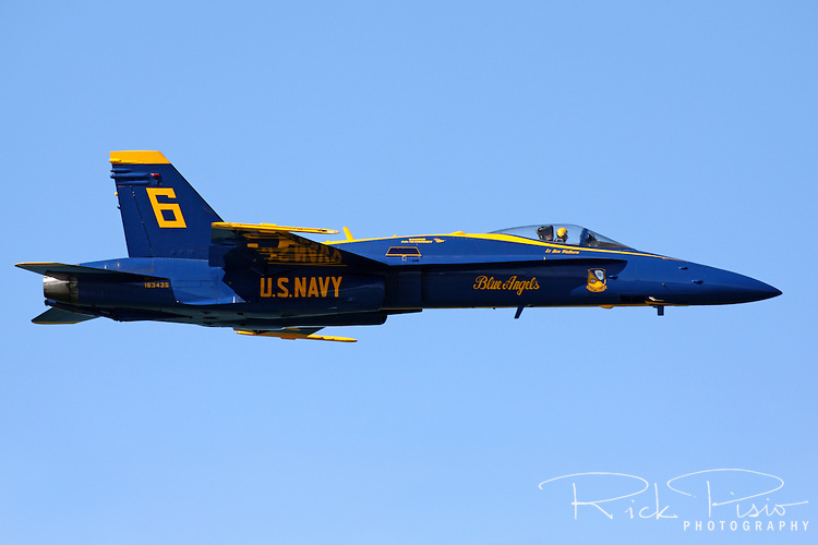 Opposing Solo, Blue Angel #6, in level flight as it enters the airshow box during the 2010 San Francisco Fleet Week Airshow.