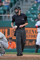 Home plate umpire Blake Felix during a Pacific Coast League game between the Fresno Grizzlies and the Salt Lake Bees at Chukchansi Park on May 14, 2018 in Fresno, California. Fresno defeated Salt Lake 4-3. (Zachary Lucy/Four Seam Images)