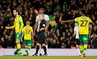 Bolton Wanderers' Sammy Ameobi is shown a red card by Scott Duncan<br /> <br /> Photographer David Shipman/CameraSport<br /> <br /> The EFL Sky Bet Championship - Norwich City v Bolton Wanderers - Saturday 8th December 2018 - Carrow Road - Norwich<br /> <br /> World Copyright &copy; 2018 CameraSport. All rights reserved. 43 Linden Ave. Countesthorpe. Leicester. England. LE8 5PG - Tel: +44 (0) 116 277 4147 - admin@camerasport.com - www.camerasport.com