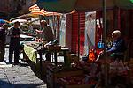Market stall in Vicolo Mezzani, Palermo, Italy.