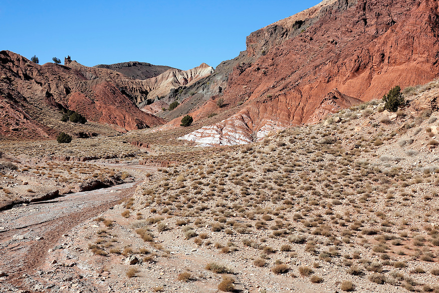 Mountains and dry river bed in the Ounila Valley, Morocco.
