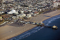 aerial photograph of the Santa Monica Pier, Los Angeles County, California