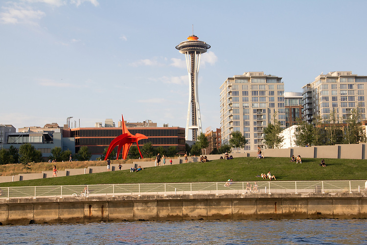 Seattle, Eagle, sculpture, Alexander Calder, Space Needle, Olympic Sculpture Park, summer, public art, Belltown neighborhood, Pacific Northwest, Washington State,