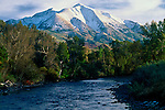 Mount Sopris towers over Crystal River in the Maroon Bells-Snowmass Wilderness, near Carbondale & Aspen, Colorado.