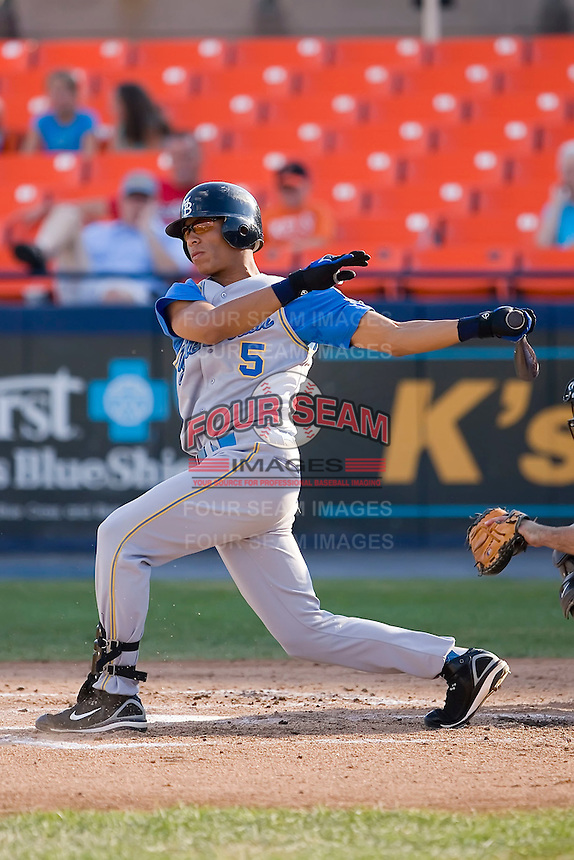 Designated hitter Gorkys Hernandez (5) of the Myrtle Beach Pelicans follows through on his swing at Harry Grove Stadium in Frederick, MD, Monday July 14, 2008. (Photo by Brian Westerholt / Four Seam Images)
