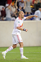 Joel Lindpere (20) of the New York Red Bulls yells in the direction of the referee after scoring. The New York Red Bulls and the Chicago Fire played to a 2-2 tie during a Major League Soccer (MLS) match at Red Bull Arena in Harrison, NJ, on August 13, 2011.