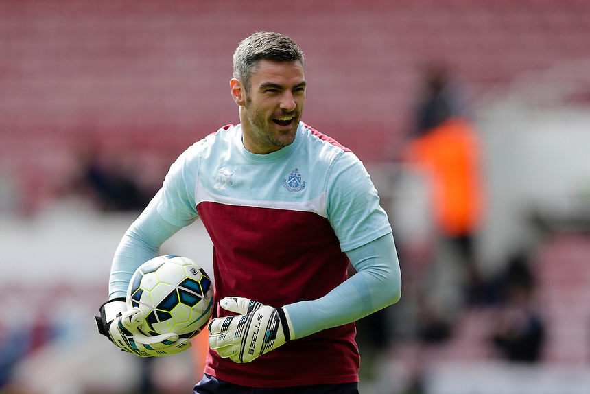 Burnley's Matthew Gilks during the pre-match warm-up <br /> <br /> Photographer Craig Mercer/CameraSport<br /> <br /> Football - Barclays Premiership - West Ham United v Burnley - Saturday 2nd May 2015 - Boleyn Ground - London<br /> <br /> &copy; CameraSport - 43 Linden Ave. Countesthorpe. Leicester. England. LE8 5PG - Tel: +44 (0) 116 277 4147 - admin@camerasport.com - www.camerasport.com
