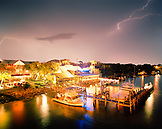 USA, Florida, the Grille at Riverview restaurant with lightning, New Smyrna Beach