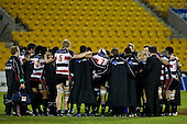 Steelers Coach Milton Haig holds a post match team talk on field immediately after the game. Air New Zealand Cup rugby game played at Mt Smart Stadium, Auckland, between Counties Manukau Steelers & Otago on Thursday August 21st 2008..Otago won 22 - 8 after leading 12 - 8 at halftime.