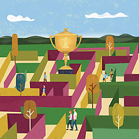 Gold trophy prize in centre of maze