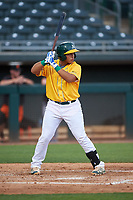 AZL Athletics Gold Jorge Gordon (9) at bat during an Arizona League game against the AZL Giants Black on July 12, 2019 at Hohokam Stadium in Mesa, Arizona. The AZL Giants Black defeated the AZL Athletics Gold 9-7. (Zachary Lucy/Four Seam Images)
