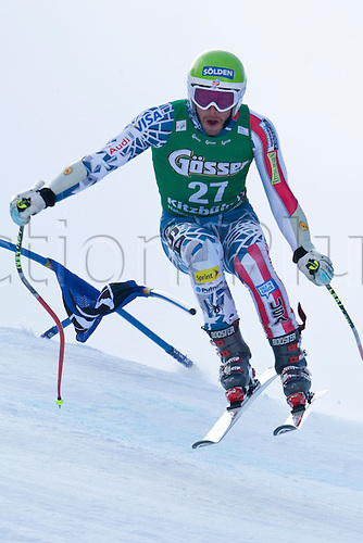 21.01.2011 KITZBUHEL AUSTRIA. Bode Miller (USA) takes to the air competing in the 2011 Hahnenkamm Super Giant Slalom race (Super G)part of  Audi FIS World Cup races in Kitzbuhel Austria.