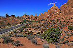 Bizarre Landforms along the road through Arches National Park, Utah, USA