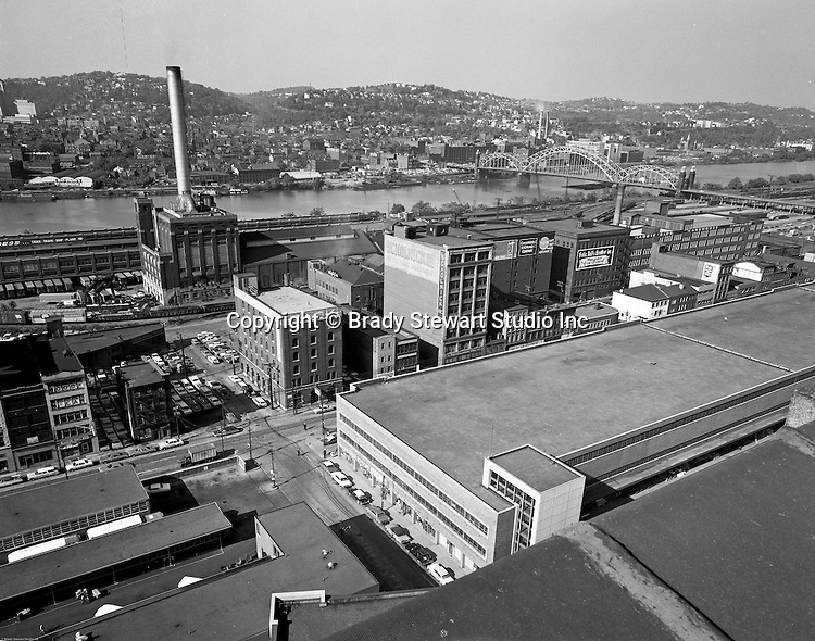 Pittsburgh PA - View of the strip district section of Pittsburgh from the roof of the PA Railroad Station roof - 1959