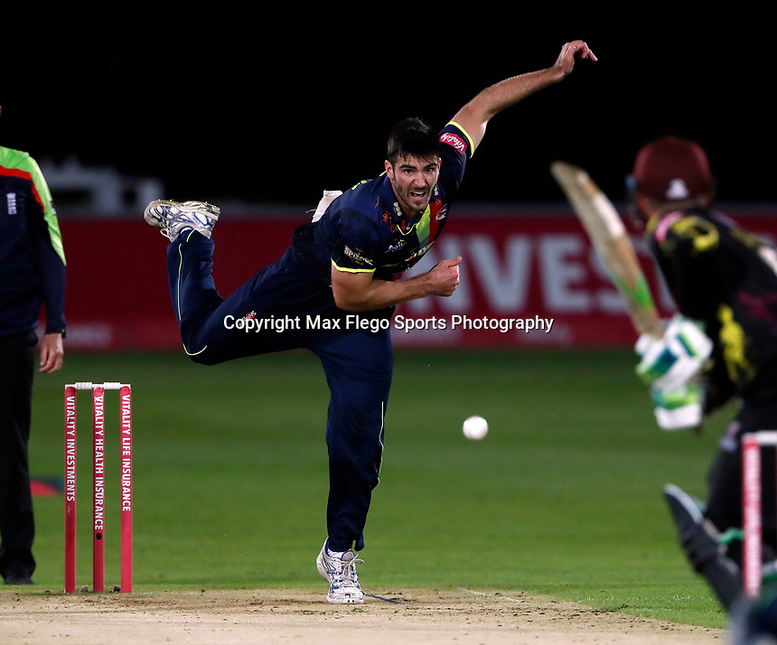 Grant Stewart bowls for Kent during the Vitality Blast T20 game between Kent Spitfires and Somerset at the St Lawrence Ground, Canterbury, on Thur Aug 16, 2018