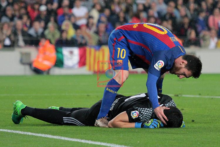 League Santander 2016/2017. Game: 32.<br /> FC Barcelona vs Real Sociedad: 3-2.<br /> Lionel Messi &amp; Rulli.