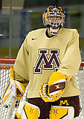 Jeff Frazee (Minnesota 1) takes part in the Gophers' morning skate at the Xcel Energy Center in St. Paul, Minnesota, on Friday, October 12, 2007, during the Ice Breaker Invitational.