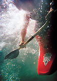 USA, California, close-up of a kayaker shot underwater, Salmon River, Otter Bar Kayaking School