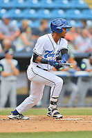Asheville Tourists Daniel Montano (24) swings at a pitch during a game against the Columbia Fireflies at McCormick Field on June 23, 2019 in Asheville, North Carolina. The Fireflies defeated the Tourists 11-9. (Tony Farlow/Four Seam Images)