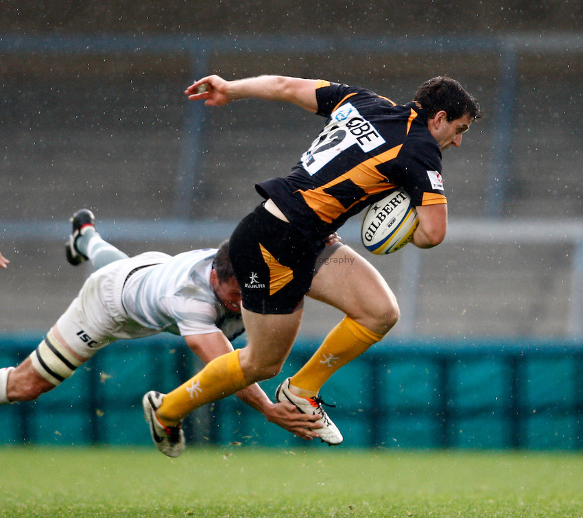 Photo: Richard Lane/Richard Lane Photography. London Wasps v London Irish. Pre Season Friendly. 24/08/2013. Wasps' Charlie Hayter attacks.