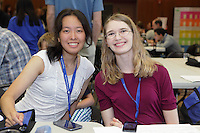 Santina Lin (left) and Rebecca Gieseking, origami designer, between classes.