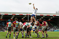James Phillips of Bath Rugby rises high to win lineout ball. Aviva Premiership match, between Harlequins and Bath Rugby on March 2, 2018 at the Twickenham Stoop in London, England. Photo by: Patrick Khachfe / Onside Images