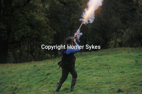 Black powder shoot on private estate. Shooting party Wiltshire England.