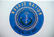 May 6th to 13th, 1985 in Navajo Reserve, AZ. Official emblem of the Navajo Tribe. The Navajo Reserve is 25000 sq miles with the population of 165 thousand.