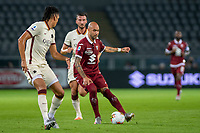 29th July 2020; Olympic Grande Torino Stadium, Turin, Piedmont, Italy; Serie A Football, Torino versus Roma; Simone Zaza of Torino FC plays the ball to the assist the goal by Alejandro Berenguer of Torino FC in the 14th minute