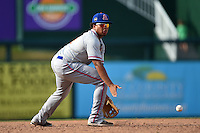 St. Lucie Mets third baseman Jhoan Urena (13) attempts to field a ground ball during a game against the Fort Myers Miracle on April 19, 2015 at Hammond Stadium in Fort Myers, Florida.  Fort Myers defeated St. Lucie 3-2 in eleven innings.  (Mike Janes/Four Seam Images)