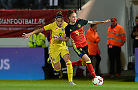 20171020 - LEUVEN , BELGIUM : Belgian Tessa Wullaert (r) pictured in a duel with Romanian Laura Rus (left) during the female soccer game between the Belgian Red Flames and Romania , the second game in the qualificaton for the World Championship qualification round in group 6 for France 2019, Friday 20 th October 2017 at OHL Stadion Den Dreef in Leuven , Belgium. PHOTO SPORTPIX.BE | DAVID CATRY