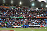 The teams line up for the cup final between Fiji and South Africa on day two of the 2018 HSBC World Sevens Series Hamilton at FMG Stadium in Hamilton, New Zealand on Sunday, 4 February 2018. Photo: Shane Wenzlick / lintottphoto.co.nz