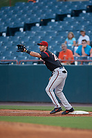 Richmond Flying Squirrels first baseman Gio Brusa (28) stretches for a throw during an Eastern League game against the Bowie Baysox on August 15, 2019 at Prince George's Stadium in Bowie, Maryland.  Bowie defeated Richmond 4-3.  (Mike Janes/Four Seam Images)