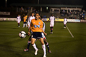 "March 14, 2009. Cary, NC.. The Carolina Railhawks went home in foul weather with a  1-0 victory over the New England Revolution of the MLS, in the inaugural ""Community Shield"" match and their first professional outing under new coach, Martin Rennie. . Kupono Low, #3."