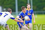 Jack Cahill Spa goes past Geoffrey Mahony Laune Rangers during their County League game in Killorglin on Saturday