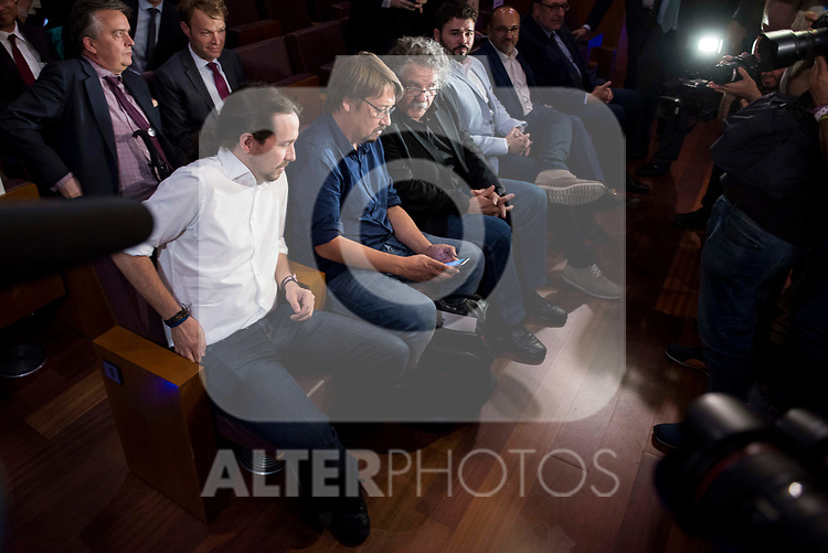 Pablo Iglesias, Xavier Domenech, Joan Tarda and Gabriel Rufian attends to conference at Madrid Town Hall, May 22, 2017. Spain.<br /> (ALTERPHOTOS/BorjaB.Hojas)
